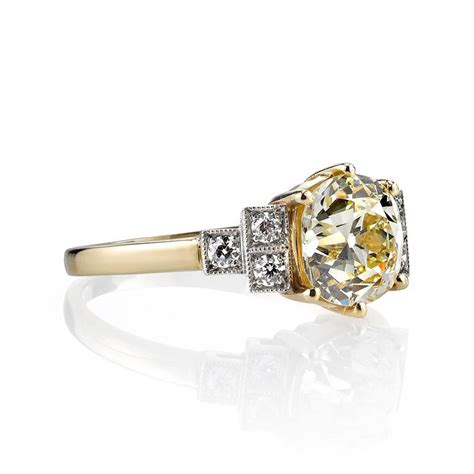 deco inspired rings deco inspired cushion cut engagement ring at