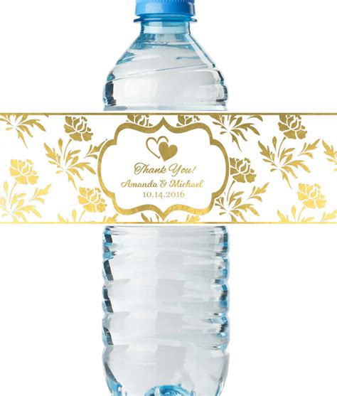 personalized wedding water bottle labels real metallic