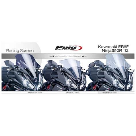 Windshield Puig Kawasaki Er6 N puig racing windscreen kawasaki 650r 2012 2016 revzilla