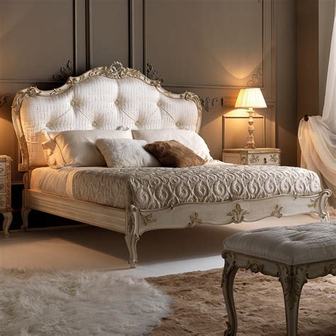 upholstered bedroom italian rococo luxury silk button upholstered bed