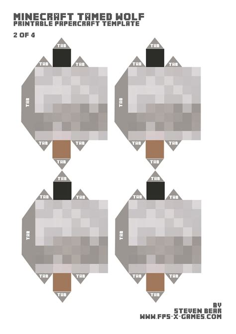 Minecraft Papercraft Wolf - large papercraft template tamed wolf