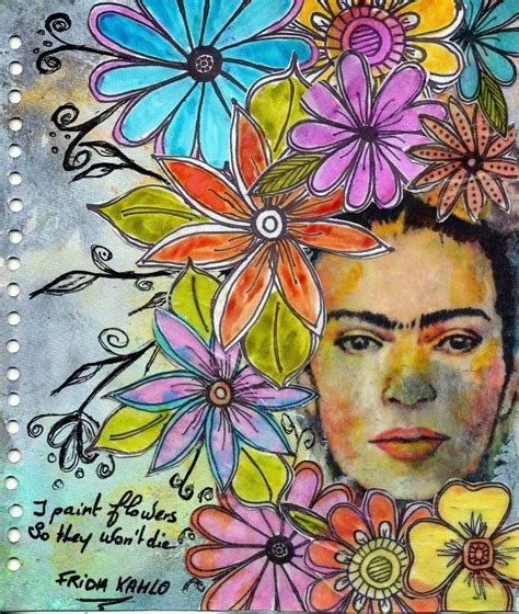 ba art kahlo espagnol frida kahlo drawings sketches diary pages frida kahlo margaritas dessin
