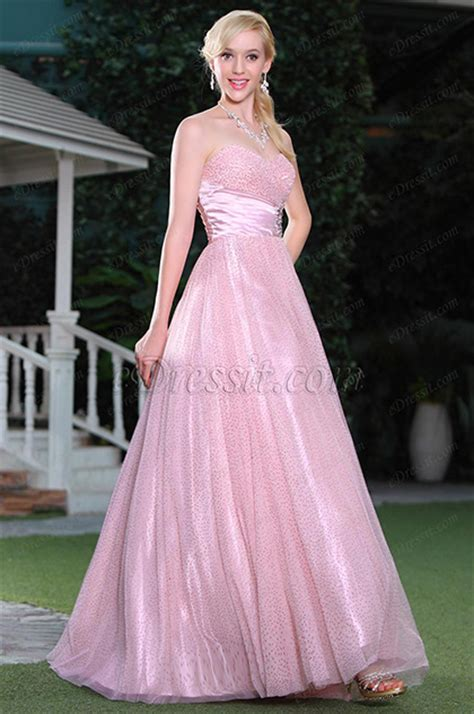 fluffy pink   sweetheart neck formal dress ball gown