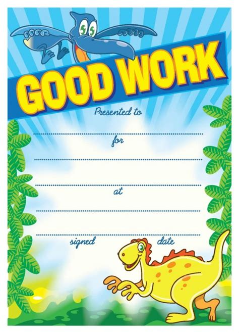 good work dinosaurs certificate school merit stickers