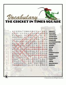 the in times square a novel books printable worksheets for the cricket in times square