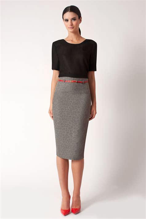 black halo cheetah high waist pencil skirt