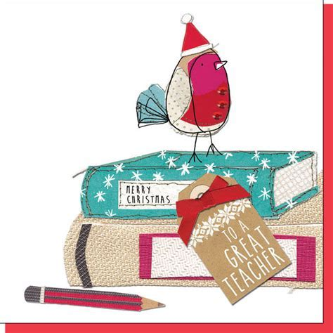 To A Great Teacher Christmas Card   Karenza Paperie