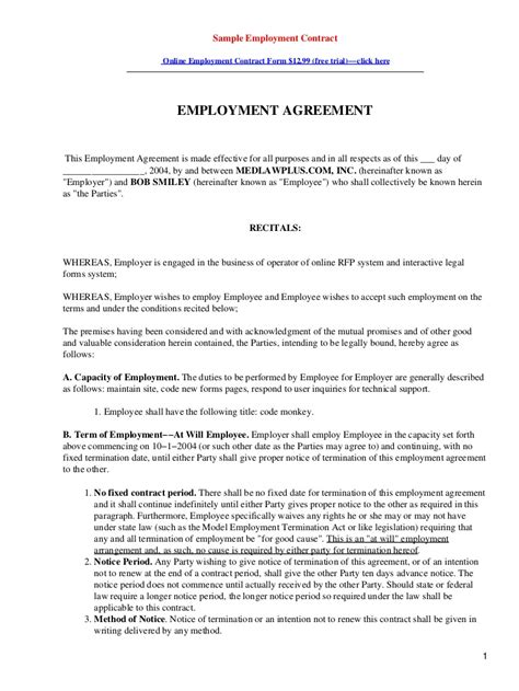contract template sle employment contract