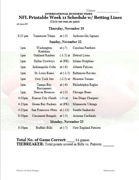 printable nfl schedule office pool nfl office pool 2015 printable week 11 schedule with