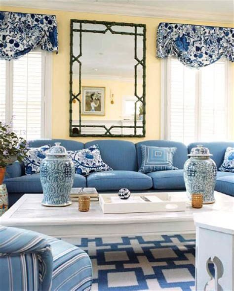 Yellow And Blue Living Room Ideas - preppy classic and living room in blue white and