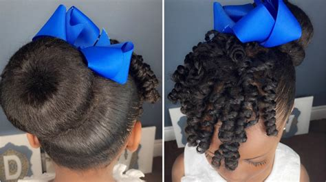 sock bun with natural black hair sock bun curls tutorial kids natural hairstyle