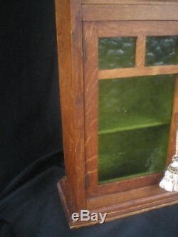 antique primitive oak wood spice cabinet  green