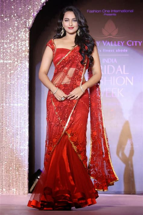 bollywood actress hairstyles in saree sonakshi sinha saree dresses and makeup styles