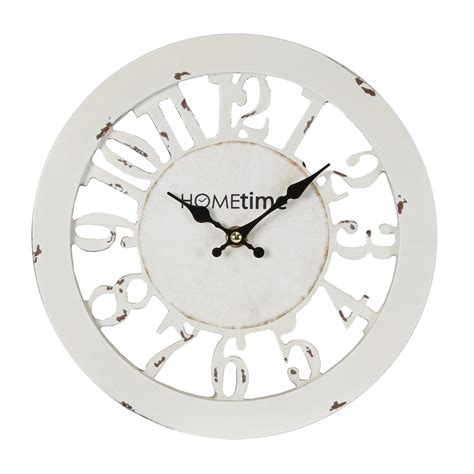white shabby chic wall clock antique white shabby chic wall clock cut out skeleton