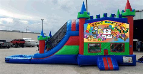 bright house auburndale fl comes with 13x13 bounce house climb area and double lane slide with pool at the end