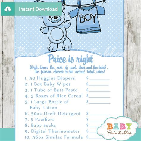 Blue Clothesline Baby Shower Games Bundle ? D151
