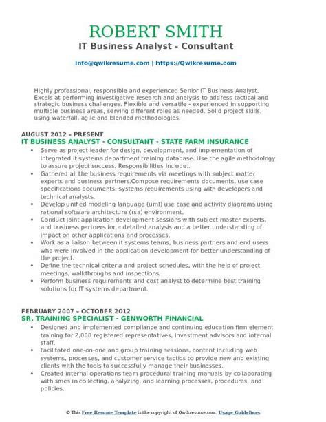 business analyst consultant resume sles qwikresume