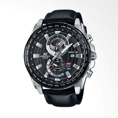 Jam Tangan Casio Pria Original Date Leather Original Garsnsi 1 Tahun jual casio edifice chronograph world time genuine leather jam tangan pria hitam efr 550l