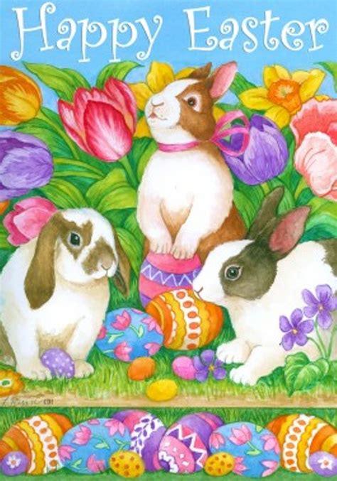 happy easter mini garden flag bunnies tulips easter