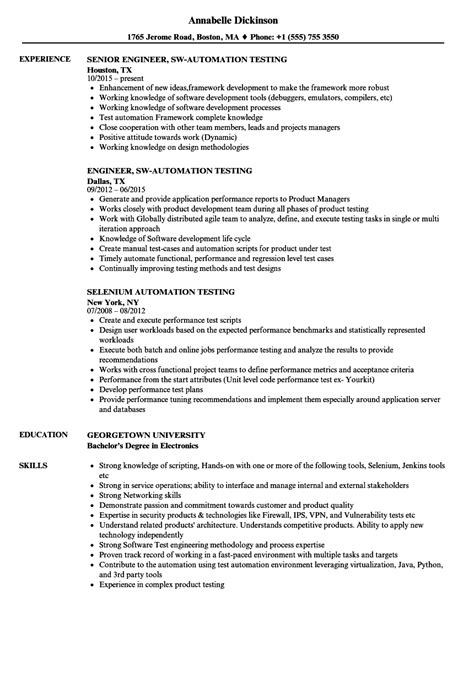 automation test engineer resume format automation testing resume sles velvet