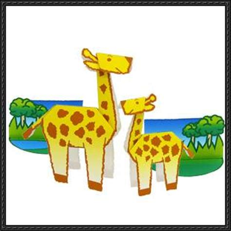 Papercraft Giraffe - canon papercraft animals paper model giraffe cut and