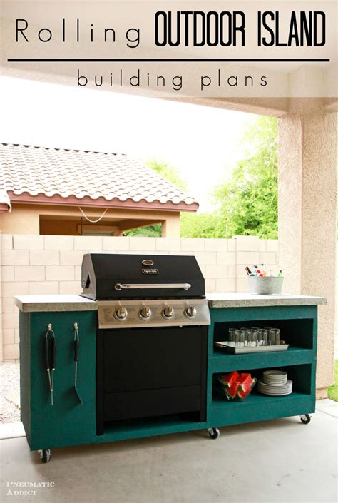 outdoor kitchen island plans pneumatic addict rolling outdoor island building plans