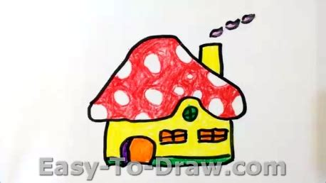 how house how to draw a cartoon mushroom house for kids 187 easy to draw com
