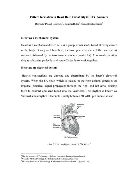 pattern formation heart pattern formation in heart rate variability hrv dynamics