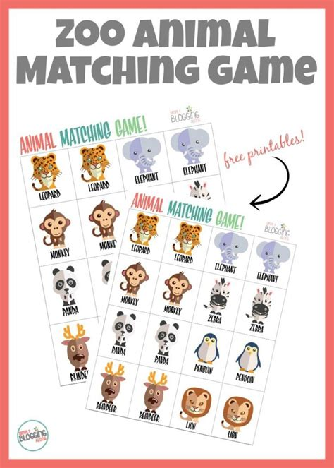 printable zoo animal matching game preschool zoo activities animal match game printable