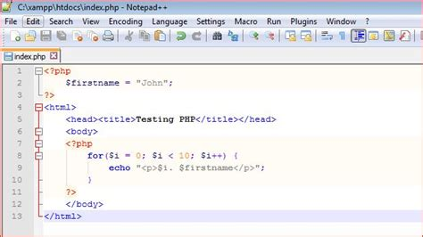 tutorial php coding notepad plus