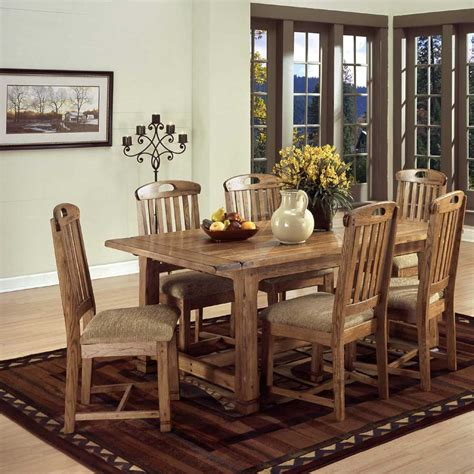 Dining Room Furniture Designs Designs Sedona Rustic Oak 7 Dining Set Dunk Bright Furniture Dining 7 Or More