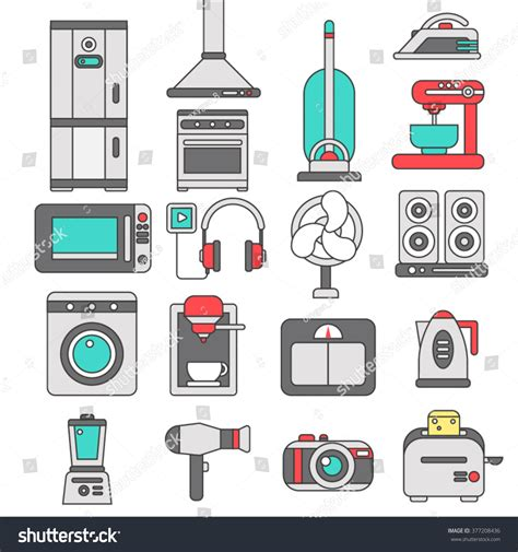 home appliances logo design line icons flat design elements major stock vector