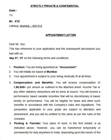 appointment letter format for accountant in pdf 25 appointment letter templates free sle exle