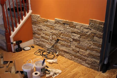 accent wall paint speckled pawprints diy stone accent wall