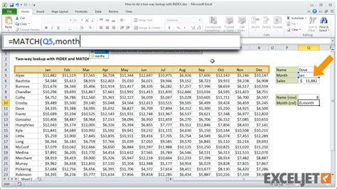 tutorial excel index excel tutorial how to do a two way lookup with index and