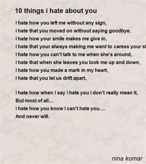 Things I About Me by 10 Things I About You Poem By Komar Poem