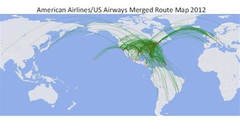 american  airways merger   combined route map   farecompare