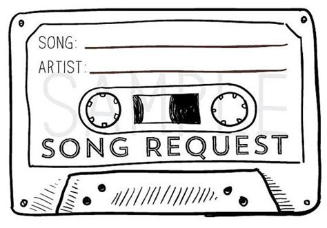 song request card template 50 cassette song request rsvp cards
