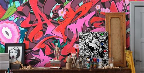 Wall Stickers Murals street art panneaux muraux avec graffiti et design de