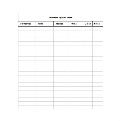 19 sign up sheet templates free sle exle format