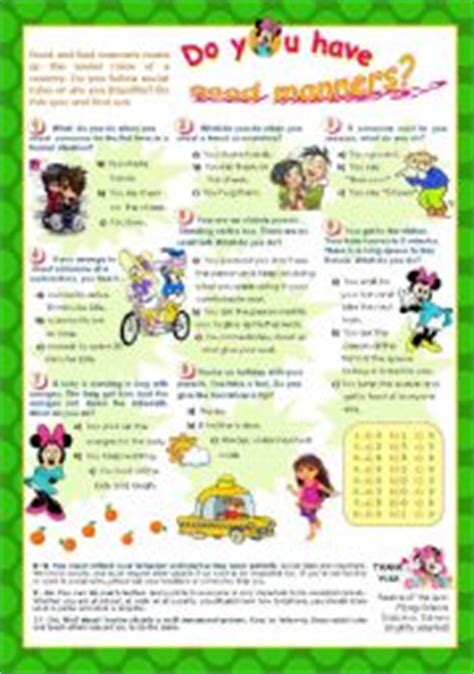 printable etiquette quiz english worksheets quot do you have good manners quot quiz for