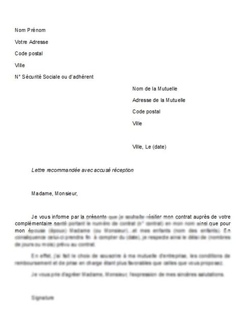 Resiliation Chatel Lettre Type Lettre Type Resiliation Contrat Mutuelle Document