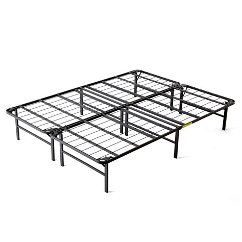 Folding Metal Bed Frame Intellibase Lightweight Easy Set Up Bi Fold Platform Metal Bed Frame King