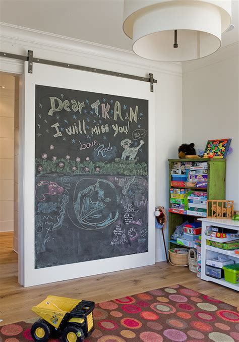chalkboard barn door transitional boy s room brookes
