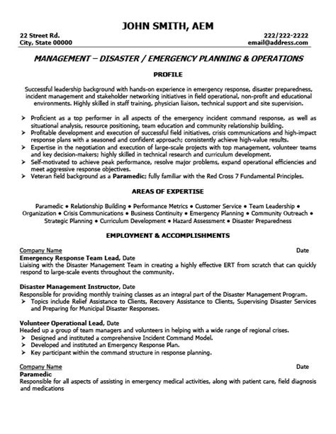 Emergency Description by Emergency Response Team Leader Resume Template Premium Resume Sles Exle