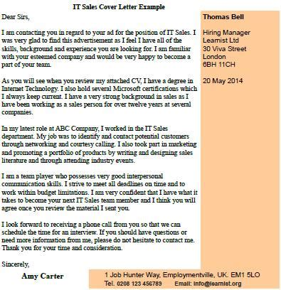 Phone Sales Cover Letter by It Sales Cover Letter Exle Forums Learnist Org