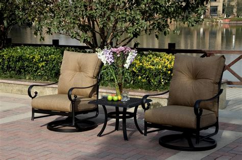 swivel patio set patio furniture cast aluminum rocker set swivel 3pc santa