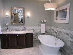 cadet blue master bathroom wall painting with mosaic stone subway bathroom tiles and decorative