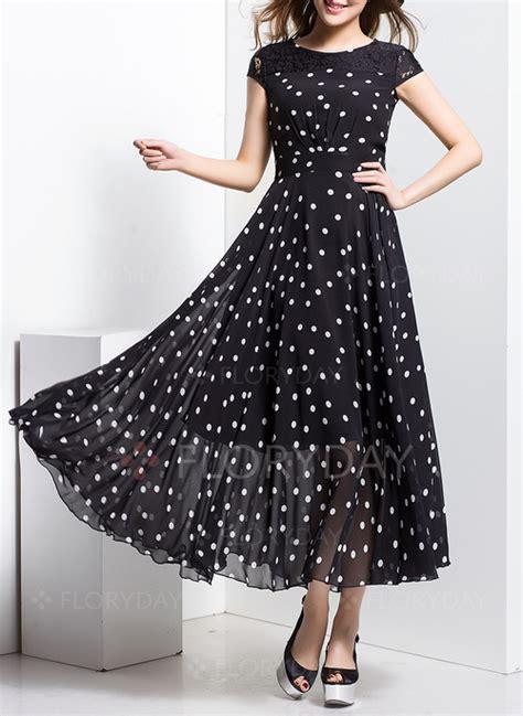 Polka Dot Sleeve A Line Dress chiffon polka dot cap sleeve maxi a line dress floryday