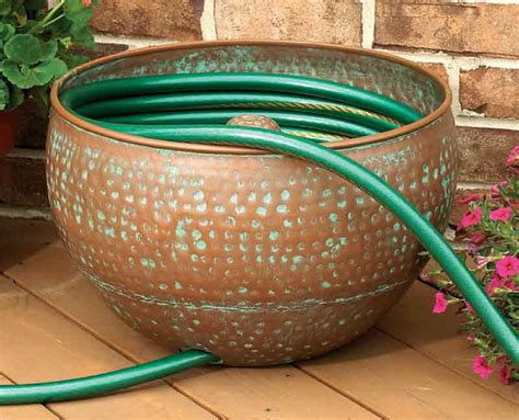 garden hose container cobraco hammered copper finish hose